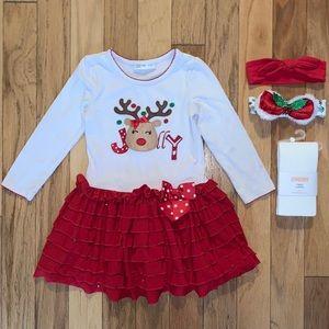 Bonnie Jean Christmas Dress, NWT Tights+ Headbands